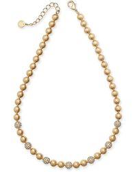 "Charter Club Gold-tone Pavé-fireball & Bead Collar Necklace, 17"" + 2"" Extender, Created For Macy's - Metallic"