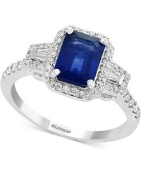 Effy Collection - Sapphire (1-1/2 Ct. T.w.) & Diamond (3/8 Ct. T.w.) Engagement Ring In 18k White Gold - Lyst