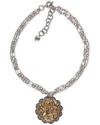 Patricia Nash The Antique Rose Medallion Necklace - Metallic