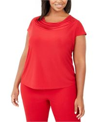 Kasper Plus Size Short-sleeve Cowl-neck Top - Red