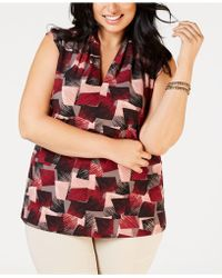 Nine West - Plus Size Inverted-pleat Printed Top - Lyst