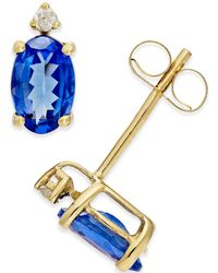 Macy's | Tanzanite (3/4 Ct. T.w.) And Diamond Accent Stud Earrings In 14k Gold | Lyst