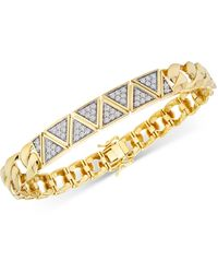Macy's Diamond Triangular Cluster Statement Bracelet (1 Ct. T.w.) In 14k Gold-plated Sterling Silver - Metallic