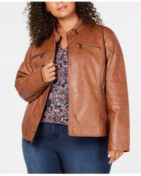 Maralyn & Me Juniors' Plus Size Faux-leather Moto Jacket - Brown