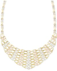 Macy's - Tri-tone Graduated Frontal Necklace In 14k Gold - Lyst