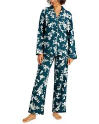 Charter Club Printed Cotton Flannel Pajama Set, Created For Macy's - Blue