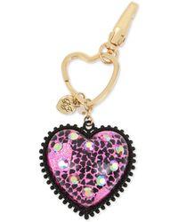 Betsey Johnson Two-tone Crystal Glitter Heart Key Chain - Pink