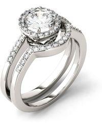 Charles & Colvard Moissanite Bridal Set (1-1/6 Ct. T.w. Diamond Equivalent) In 14k White Gold - Metallic