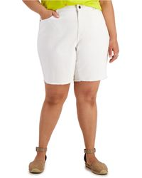 Style & Co. Plus Size Denim Bermuda Shorts, Created For Macy's - White