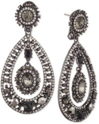 Marchesa - Hematite-tone Stone & Crystal Orbital Drop Earrings - Lyst
