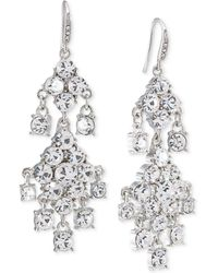 Carolee | Silver-tone Crystal Double-drop Chandelier Earrings | Lyst