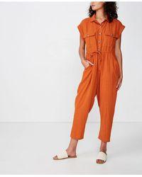 Cotton On Woven Isabella Utility Jumpsuit - Orange