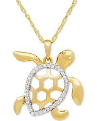 Macy's - Diamond Turtle Pedant Necklace (1/10 Ct. T.w.) In 10k Gold - Lyst