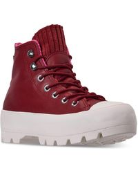 Chuck Taylor All Star Lugged Winter Retrograde High Top Sneaker Boot Casual Sneakers From Finish Line Red