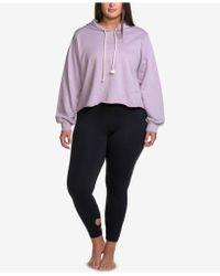 Soffe - Curves Plus Size Raw-hem Hoodie Sweatshirt - Lyst