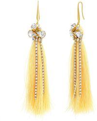 Catherine Malandrino Clustered White Rhinestone Yellow Gold-tone Yellow Tassel Earrings