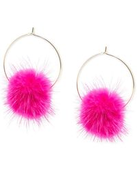 "Zenzii Large Gold-tone Faux-fur Pom-pom Hoop Earrings, 2.5"" - Multicolour"