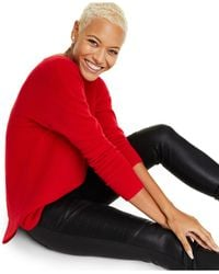 Charter Club Pure Cashmere Long-sleeve Shirttail Sweater, Regular & Petite Sizes, Created For Macy's - Red