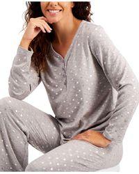 Charter Club Soft Knit Pajama Set, Created For Macy's - Gray