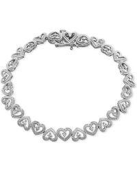 Macy's - Diamond Heart Link Bracelet (1/10 Ct. T.w.) In Sterling Silver - Lyst