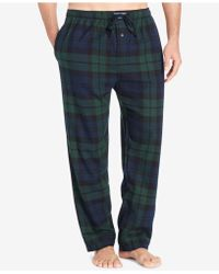 Polo Ralph Lauren Big & Tall Plaid Cotton Flannel Pajama Pants - Blue