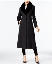 Forecaster - Fox-fur-trim Wool-blend Maxi Coat, Only At Macy's - Lyst