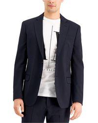 Armani Exchange Slim-fit Nvy Solid Wool Suit Seprte Jcket - Blue