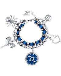 Guess - Silver-tone Woven Ribbon Pavé Charm Bracelet - Lyst