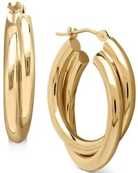 Macy's Double Doop Earrings In 14k Gold - Metallic