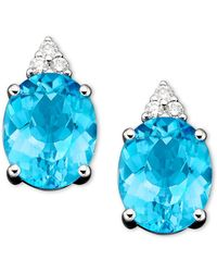 Macy's 14k White Gold Earrings, Blue Topaz (5-1/2 Ct. T.w.) And Diamond (1/10 Ct. T.w.)