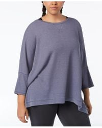 9812c630289 Lyst - Calvin Klein Performance Floral-print 3 4-sleeve Top in Gray