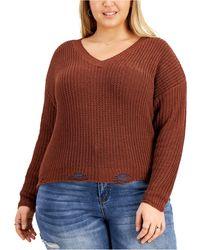 Derek Heart Trendy Plus Size Distressed Lace-up Sweater - Multicolor