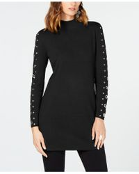 INC International Concepts Inc Grommet-detail Tunic Sweater, Created For Macy's - Black