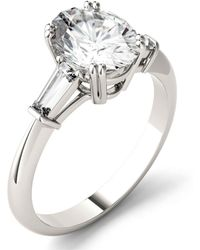 Charles & Colvard Moissanite Oval Engagement Ring (2-1/2 Ct. Tw. Diamond Equivalent) In 14k White Gold - Metallic