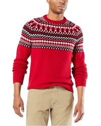 Dockers Alpha Chunky Fair Isle Sweater, Created For Macy's - Red