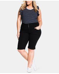 City Chic Trendy Plus Size High-waist Skinny Shorts - Black