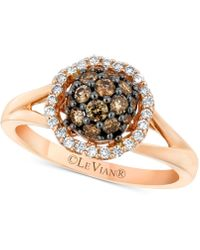 Le Vian - Chocolatier® Diamond Halo Cluster Ring (5/8 Ct. T.w.) In 14k Rose Gold - Lyst