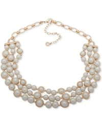 "Anne Klein - Gold-tone Imitation Pearl Triple-row Collar Necklace, 16"" + 3"" Extender - Lyst"