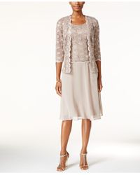 R & M Richards R&m Richards Sequined Lace Chiffon Dress And Jacket - Natural
