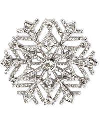 Charter Club - Silver-tone Crystal Snowflake Brooch - Lyst