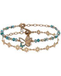 Lonna & Lilly Gold-tone 2-pc. Set Pavé Butterfly & Beaded Ankle Bracelets - Green