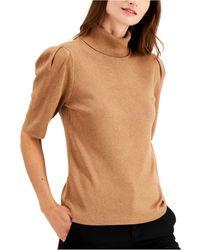 Alfani Turtleneck Elbow-sleeve Sweater, Created For Macy's - Brown