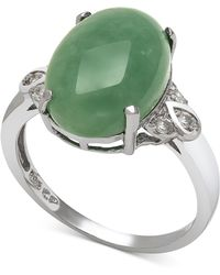 Macy's - Dyed Jade (10mm) And Diamond (1/10 Ct. T.w.) Ring In Sterling Silver - Lyst