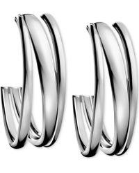 Calvin Klein - Stainless Steel Polished Hoop Earrings - Lyst