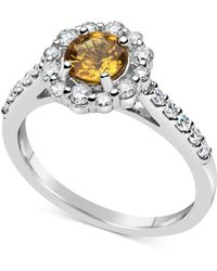 Macy's - Yellow Sapphire (1 Ct. T.w.) & Diamond (1/2 Ct. T.w.) Ring In 14k White Gold - Lyst