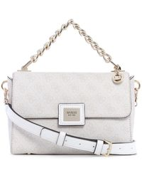 Guess Candace Top Handle Flap Bag - White