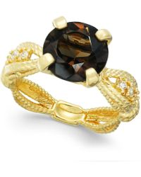 Macy's - Smokey Quartz (2-1/2 Ct. T.w.) & Diamond (1/10 Ct. T.w.) Ring In 14k Gold-plated Sterling Silver - Lyst