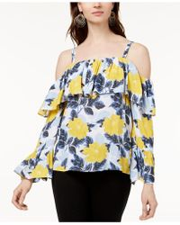INC International Concepts - Printed Cold-shoulder Ruffle Top, Created For Macy's - Lyst
