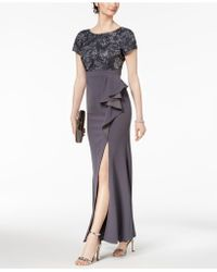Adrianna Papell - Embellished Ruffled Slit Gown - Lyst