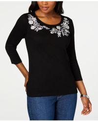 Karen Scott Petite Embroidered 3/4-sleeve Top, Created For Macy's - Black